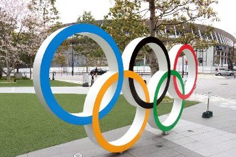 March 31, 2020, Tokyo, Japan - Olympic rings are seen before Japan