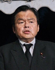 Minister of Land, Infrastructure, Transport and Tourism, Kazuyoshi Akaba speaks to reporters after ceremony for JAL Flight 123 plane crash victims marking the 35th anniversary at the Memorial Garden in Ueno Village, Gunma Prefecture, Japan, on August 12, 2020