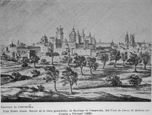 """DIBUJO-DET VISTA DE SANTIAGO DE COMPOSTELA""""DEL VIAJE DE COSME DE MEDICIS POR ESPAÑA Y PORTUGAL""""(1669. Autor: BALDI PIER MARIA. Localización: COLECCION PRIVADA. MADRID. ESPAÑA.DIBUJO-DET VISTA DE SANTIAGO DE COMPOSTELA""""DEL VIAJE DE COSME DE MEDICIS POR ESPAÑA Y PORTUGAL""""(1669. Author: BALDI PIER MARIA. Location: PRIVATE COLLECTION. MADRID. SPAIN.. Album \/ Oronoz. MADRID SPAIN."""