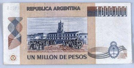 BILLETE DE UN MILLON DE PESOS ARGENTINOS - REVERSO.BILLETE DE UN MILLON DE PESOS ARGENTINOS - REVERSO.. Album \/ Oronoz. .