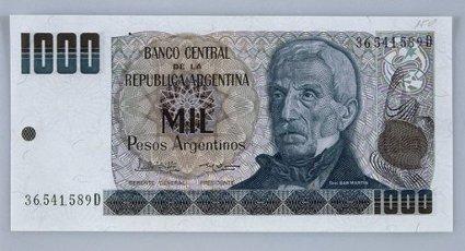 BILLETE DE MIL PESOS ARGENTINOS - ANVERSO. SAN MARTIN JOSE GENERAL.BILLETE DE MIL PESOS ARGENTINOS - ANVERSO. SAN MARTIN JOSE GENERAL.. Album \/ Oronoz. .