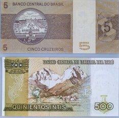 BILLETES EN DESUSO DE QUINIENTOS INTIS PERUANOS Y DE CINCO CRUZEIROS BRASILEÑOS- REVERSO.BILLETES EN DESUSO DE QUINIENTOS INTIS PERUANOS Y DE CINCO CRUZEIROS BRASILEÑOS- REVERSO.. Album \/ Oronoz. .
