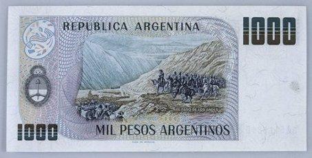 BILLETE DE MIL PESOS ARGENTINOS - REVERSO.BILLETE DE MIL PESOS ARGENTINOS - REVERSO.. Album \/ Oronoz. .