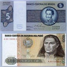 BILLETES EN DESUSO DE QUINIENTOS INTIS PERUANOS Y DE CINCO CRUZEIROS BRASILEÑOS- ANVERSO. CONDORCANQUI JOSE GABRIEL. TUPAC AMARU II.BILLETES EN DESUSO DE QUINIENTOS INTIS PERUANOS Y DE CINCO CRUZEIROS BRASILEÑOS- ANVERSO. CONDORCANQUI JOSE GABRIEL. TUPAC AMARU II.. Album \/ Oronoz. .