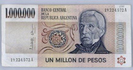 BILLETE DE UN MILLON DE PESOS ARGENTINOS - ANVERSO. SAN MARTIN JOSE GENERAL.BILLETE DE UN MILLON DE PESOS ARGENTINOS - ANVERSO. SAN MARTIN JOSE GENERAL.. Album \/ Oronoz. .