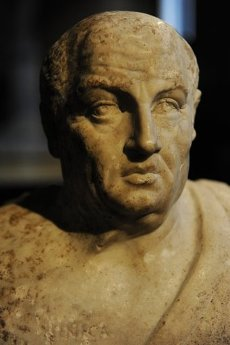"Doble busto de Sócartes y Séneca. Detalle del retrato de LUCIO ANNEO SENECA (4 a. C-65 d. C.). ""El Joven"". Filósofo romano moralista. Copia. S. III d. C. Neues Museum (Nuevo Museo). Berlín. Alemania. Europa.Lucius Annaeus Seneca (c. 4 BC-65 AD). Roman stoic philosopher. Detail of the Double Herm of Socrates and Seneca. Ancient Roman statue from the first half of the 3rd century AD. Marble. Portraits are coupled in double herm by later roman copyst. Neues Museum (New Museum). Berlin, Germany.. Album \/ Prisma. ."