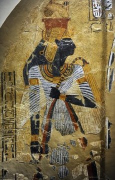 ARTE EGIPCIO. EGIPTO. Representación de la reina consorte Ahmose-Nofretari, esposa del faraón Amosis I (Ahmose I), y Gran Esposa Real. Pintura sobre estuco. Imperio Nuevo. Dinastía 20. Hacia el 1152-1145 a. C. Tumba TT359. Necrópolis de Tebas. Neues Museum (Nuevo Museo). Berlín. Alemania. Europa.Painting from a tomb featuring the deified queen Ahmose Nefertari, the Great Royal Wife of Ahmose I, founder of the 18th Dynasty ca. 1500 BC. From Deir el-Medine, tomb TT359: Tomb of Inherkha. New Kingdom, 20th Dynasty, 1152-1145 BCE. Egypt. Neues Museum (New Museum). Germany. Europe.. Album \/ Prisma. .