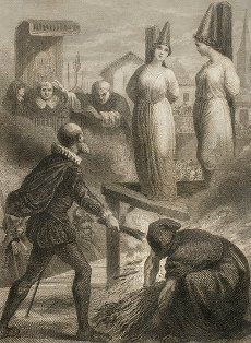 Historia de la Inquisición. España. Auto de fe. Valladolid,1581. Un caballero delató en Valladolid a dos hijas suyas porque confesaban las doctrinas de Lutero. Fueron apresadas por el Santo Oficio y encerradas en calabozos. Los frailes intentaron atraerlas de nuevo al catolicismo en vano. Al ver su padre lo inútil de la situación, instó a los jueces a condenar a sus hijas sentenciándolas a muerte. Grabado con la representación del padre prendiendo la leña para quemar a sus hijas. Por J. Furnó. Historia de las persecuciones políticas y religiosas en Europa. Editada en Barcelona,1864.Historia de la Inquisición. España. Auto de fe. Valladolid,1581. Un caballero delató en Valladolid a dos hijas suyas porque confesaban las doctrinas de Lutero. Fueron apresadas por el Santo Oficio y encerradas en calabozos. Los frailes intentaron atraerlas de nuevo al catolicismo en vano. Al ver su padre lo inútil de la situación, instó a los jueces a condenar a sus hijas sentenciándolas a muerte. Grabado con la representación