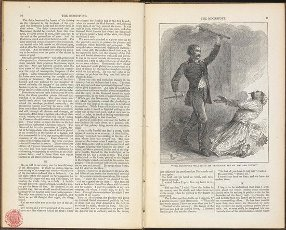 """""""The moonstone will have it\'s vengeance yet on you and yours!"""". The moonstone ... With many illustrations. New York : Harper & Bros., 1868. Source: 1600\/514 pages 10-11. Autor: Wilkie Collins (William).""""The moonstone will have it\'s vengeance yet on you and yours!"""". The moonstone ... With many illustrations. New York : Harper & Bros., 1868. Source: 1600\/514 pages 10-11. Author: Wilkie Collins (William).. Album \/ British Library. ."""