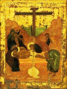 The Entombment of Christ, 1425-27. 88 x 68 cm. Museum: The Trinity Cathedral in the Trinity-Servius Lavre, sergiev posad, Rusia. Autor: ANDREY RUBLEV.The Entombment of Christ, 1425-27. 88 x 68 cm. Museum: The Trinity Cathedral in the Trinity-Servius Lavre, sergiev posad, RUSSIA. Author: ANDREY RUBLEV.. Album. .