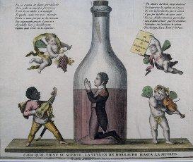 """JOSE I BONAPARTE. PEPE BOTELLA. REY DE ESPAÑA. 1768-1844. """"SATIRA DE JOSE I"""". CADA CUAL TIENE SU SUERTE , LA TUYA ES DE BORRACHO HASTA LA MUERTE. GRABADO ILUMINADO. MUSEO MUNICIPAL. MADRID.JOSE I BONAPARTE. PEPE BOTELLA. REY DE ESPAÑA. 1768-1844. """"SATIRA DE JOSE I"""". CADA CUAL TIENE SU SUERTE , LA TUYA ES DE BORRACHO HASTA LA MUERTE. GRABADO ILUMINADO. MUSEO MUNICIPAL. MADRID.. Album \/ sfgp. ."""