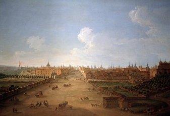 """JOLI, ANTONIO. PINTOR ITALIANO. 1706-1778. """"CALLE DE ATOCHA"""". AL DERECHA EL RETIRO Y A LA IZQUIERDA LA MURALLA DE MADRID Y LA PUERTA DE ATOCHA. PALACIO DE LIRIA. MADRID. MADRID PINTADO.JOLI, ANTONIO. PINTOR ITALIANO. 1706-1778. """"CALLE DE ATOCHA"""". AL DERECHA EL RETIRO Y A LA IZQUIERDA LA MURALLA DE MADRID Y LA PUERTA DE ATOCHA. PALACIO DE LIRIA. MADRID. MADRID PINTADO.. Album \/ sfgp. ."""