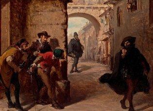 Lorenzo Valles\/ Muerte de Juan de Escobedo. Hacia 1879. Tabla. 26,5 x 35 cm. Museum: MUSEO DEL PRADO, MADRID, ESPAÑA.Lorenzo Valles\/ Muerte de Juan de Escobedo. Hacia 1879. Tabla. 26,5 x 35 cm. Museum: MUSEO DEL PRADO, MADRID, SPAIN.. Album. .