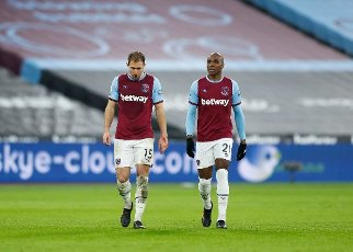 16th January 2021; London Stadium, London, England; English Premier League Football, West Ham United versus Burnley; Craig Dawson and Angelo Ogbonna of West Ham United look