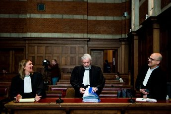 Lawyer Charlotte De Boeck, lawyer Kjell Verleysen and Lawyer Bart Verbelen pictured during the verdict in the case of five men accused of owning, creating and distributing child pornography, child abuse and human trafficking, at the correctional court in Dendermonde, Tuesday 31 March 2020. BELGA PHOTO JASPER JACOBS