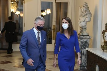 King Philippe - Filip of Belgium and outgoing Belgian Prime Minister Sophie Wilmes pictured ahead of the oath ceremony of the Vivaldi government, at the Royal Palace, Thursday 01 October 2020, in Brussels. Belgium was waiting for a federal goevrnment since the federal elections of 26 May 2019. BELGA PHOTO POOL - YVES HERMAN