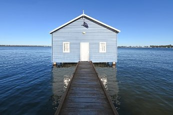 Landscape view of the Blue Boat House in Perth Western