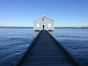Australian man visiting at the Blue Boat House in Perth Western Australia