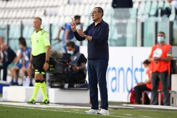July 4, 2020, Turin, United Kingdom: Juventus\'s Italian Head coach Maurizio Sarri reacts during the Serie A match at Allianz Stadium, Turin. Picture date: 4th July 2020. Picture credit should read: Jonathan Moscrop