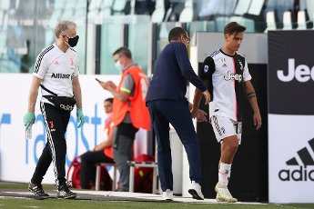 July 4, 2020, Turin, United Kingdom: Juventus\'s Italian Head coach Maurizio Sarri gives a pat on the backside to Argentinian striker Paulo Dybala after substituting him for Argentinian striker Gonzalo Higuain during the Serie A match at Allianz Stadium, Turin. Picture date: 4th July 2020. Picture credit should read: Jonathan Moscrop