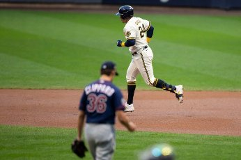 August 11, 2020: Milwaukee Brewers right fielder Avisail Garcia #24 hits a solo home run off of Minnesota Twins relief pitcher Tyler Clippard #36 during the Major League Baseball game between the Milwaukee Brewers and the Minnesota Twins at Miller Park in Milwaukee, WI. John Fisher