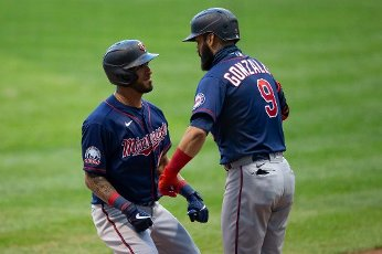 August 11, 2020: Minnesota Twins right fielder Eddie Rosario #20 celebrates after hitting a home run during the Major League Baseball game between the Milwaukee Brewers and the Minnesota Twins at Miller Park in Milwaukee, WI. John Fisher