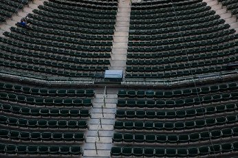 August 11, 2020: Lone photographer takes picture behind home plate during the Major League Baseball game between the Milwaukee Brewers and the Minnesota Twins at Miller Park in Milwaukee, WI. John Fisher