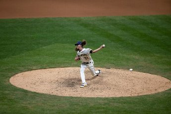 August 11, 2020: Milwaukee Brewers relief pitcher Josh Hader #71 delivers a pitch during the Major League Baseball game between the Milwaukee Brewers and the Minnesota Twins at Miller Park in Milwaukee, WI. John Fisher