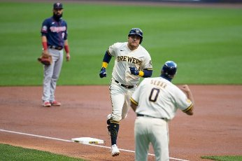 August 11, 2020: Milwaukee Brewers right fielder Avisail Garcia #24 hits a solo home run during the Major League Baseball game between the Milwaukee Brewers and the Minnesota Twins at Miller Park in Milwaukee, WI. John Fisher