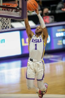 January 16, 2021: LSU\'s Javonte Smart (1) goes up for a dunk during NCAA Basketball action between the South Carolina Gamecocks and the LSU Tigers at the Pete Maravich Assembly Center in Baton Rouge, LA. Jonathan Mailhes