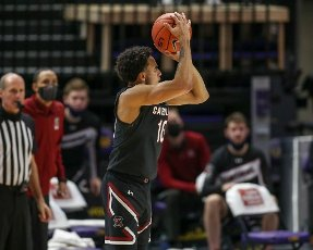 January 16, 2021: South Carolina\'s Justin Minaya (10) puts up a shot during NCAA Basketball action between the South Carolina Gamecocks and the LSU Tigers at the Pete Maravich Assembly Center in Baton Rouge, LA. Jonathan Mailhes