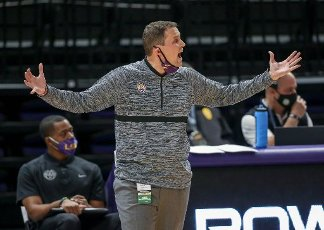January 16, 2021: LSU\'s Head Coach Will Wade reacts to a call during NCAA Basketball action between the South Carolina Gamecocks and the LSU Tigers at the Pete Maravich Assembly Center in Baton Rouge, LA. Jonathan Mailhes