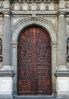 One of the main doors from the Metropolitan Cathedral of the Assumption of Mary of Mexico City in downtown, Mexico City