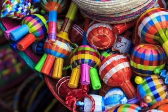 Typical mexican handmade rattles at San Jacinto\'s Plaza in San Angel, Mexico