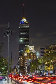 """View of the """"Torre Latinoamericana"""" from Alameda Central, in downtown, Mexico City"""