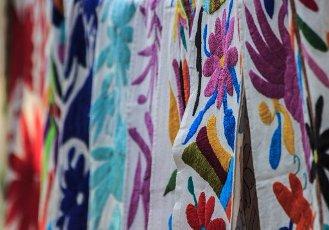 Mexican embroidery from Tenango de Doria, Hidalgo, Mexico at San Jacinto\'s Plaza in San Angel, Mexico
