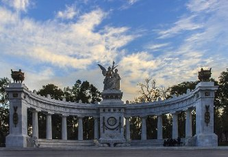 """""""Hemiciclo a Juárez"""", cenotaph to honor former president Benito Jaurez, sculpture with 2 allegories: homeland, crowning Juarez with laurels in the presence of a second representing the law, in Alameda Central, downtown, Mexico City"""