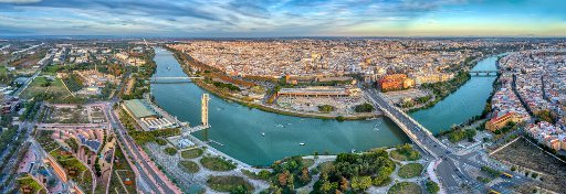 Aerial view of the city of Seville and the Guadalquivir river, Spain. High resolution panorama