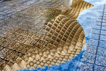 Metropol Parasol structure reflected on a rain puddle, Seville