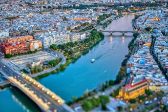 Aerial view of downtown Seville (Spain). Photo taken with a tilted lens for a shallower depth of field