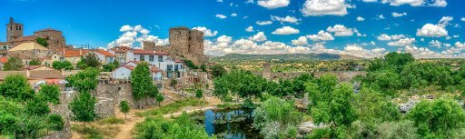 Panoramic view of Puente del Congosto, province of Salamanca, Spain