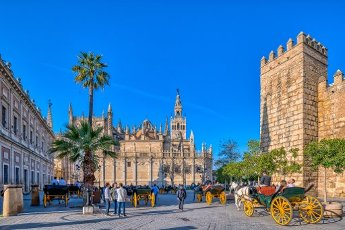 Archivo de Indias (left), Cathedral and Giralda Tower (middle) and Alcazar (right), Seville, Spain
