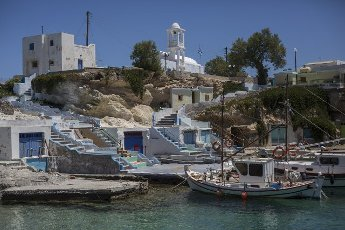14 May 2021, Greece, Mandrakia: isher boats are moored in the port of Mandrakia on the Greek island of Milos. Saturday, May 15, marks the official start of the 2021 tourism season in Greece, when most of the previous Corona restrictions will be lifted, including the travel ban within the country. Tourism is an important economic factor for the country. Photo: Socrates Baltagiannis\/dpa