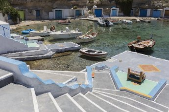 14 May 2021, Greece, Mandrakia: Boats are moored in the port of Mandrakia on the Greek island of Milos. Saturday, May 15, marks the official start of the 2021 tourism season in Greece, when most of the previous Corona restrictions will be lifted, including the travel ban within the country. Tourism is an important economic factor for the country. Photo: Socrates Baltagiannis\/dpa