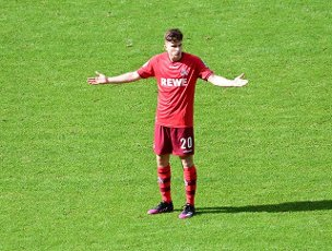 15 May 2021, Berlin: Football: Bundesliga, Hertha BSC - 1. FC Köln, 33. matchday at the Olympiastadion. Cologne\'s Elvis Rexhbecaj gestures. IMPORTANT NOTE: In accordance with the regulations of the DFL Deutsche Fußball Liga and the DFB Deutscher Fußball-Bund, it is prohibited to use or have used photographs taken in the stadium and\/or of the match in the form of sequence pictures and\/or video-like photo series. Photo: Soeren Stache\/dpa-Pool\/dpa
