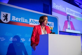 12 June 2021, Berlin: Beatrix von Storch, deputy leader of the AfD parliamentary group and candidate for list position 1 for the 2021 Bundestag election, gives her candidacy speech at the AfD Berlin election meeting in Berlin-Biesdorf (Marzahn-Hellersdorf). The Berlin AfD state association will determine its candidates for the federal election on 26 September 2021 at the weekend. Photo: Christoph Soeder\/dpa
