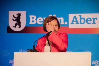 12 June 2021, Berlin: Beatrix von Storch, deputy leader of the AfD parliamentary group and candidate for list position 1 for the 2021 federal election, strokes her hair during her candidacy speech at the election meeting of the AfD Berlin in Berlin-Biesdorf (Marzahn-Hellersdorf). The Berlin AfD state association will determine its candidates for the federal election on September 26, 2021 this weekend. Photo: Christoph Soeder\/dpa