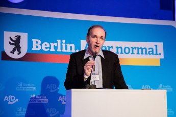 12 June 2021, Berlin: Gottfried Curio, candidate for list position 2 for the Bundestag election, gives his candidacy speech at the election meeting of the AfD Berlin in Berlin-Biesdorf (Marzahn-Hellersdorf). The Berlin AfD state association will determine its candidates for the Bundestag election on 26 September 2021 at the weekend. Photo: Christoph Soeder\/dpa