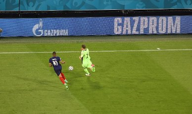 firo: 15.06.2021, Fuvuball, football: EURO 2020, EM 2021, EURO 2021, European Championship 2021, group stage, group F, Germany, Germany - France - France 0: 1 advertising, sponsoring, game scene in front of Gazprom, advertising banners