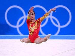 27 July 2021, Japan, Tokio: Gymnastics: Olympics, team, women, final, floor, at Ariake Gymnastics Centre: Zhang Jin from China in action. Photo: Marijan Murat\/dpa